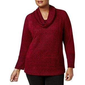 Style & Co Sweater Jacquard Cowl-Neck Pullover Red